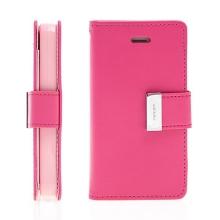 Vyklápěcí pouzdro - peněženka Mercury pro Apple iPhone 4 / 4S - s prostorem pro umístění platebních karet - růžové
