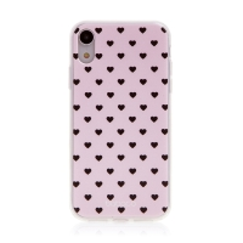 Kryt BABACO pro Apple iPhone Xr - gumový - srdíčka - růžový