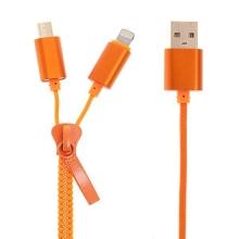 2v1 Synchronizační a nabíjecí kabel Lightning a micro USB pro Apple iPhone / iPad a další zařízení - zip - oranžový - 90cm