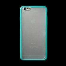 Kryt pro Apple iPhone 6 Plus / 6S Plus plasto-gumový - matný průhledný s tyrkysovým rámečkem