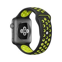 Řemínek pro Apple Watch 40mm Series 4 / 5 / 6 / SE / 38mm 1 / 2 / 3 - silikonový - černý / žlutý - (S/M)