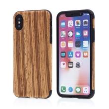 Kryt pro Apple iPhone X - gumový - hnědý / motiv dřeva dub medový