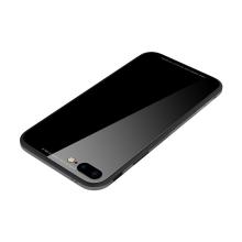 Kryt SULADA pro Apple iPhone 7 Plus / 8 Plus - kov / sklo - černý