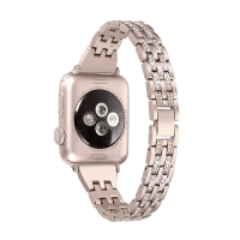 Řemínek pro Apple Watch 44mm Series 4 / 5 / 6 / SE / 42mm 1 / 2 / 3 -  s kamínky - kovový - zlatý