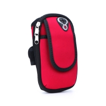 Sportovní pouzdro pro Apple iPhone / Airpods - látkové - zapínání na zip - černé / červené