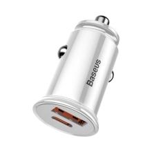 Autonabíječka BASEUS - mini - USB + USB-C - 30W rychlé nabíjení - bílá