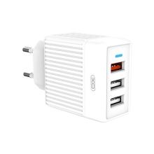 Nabíječka / EU napájecí adaptér XO L59 - 3x USB - 18W QuickCharge - bílý