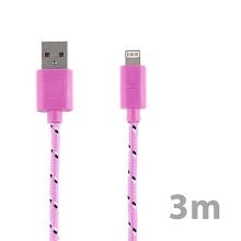 Synchronizační a nabíjecí kabel Lightning pro Apple iPhone / iPad / iPod - tkanička - světle růžový - 3m