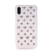 Kryt pro Apple iPhone X - umělá kůže - stříbrné 3D hvězdy / bílý
