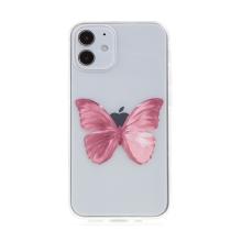 Kryt pro Apple iPhone 12 mini - gumový - růžový motýl