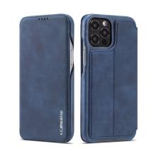 Pouzdro pro Apple iPhone 12 / 12 Pro - umělá kůže - stojánek - tmavě modré