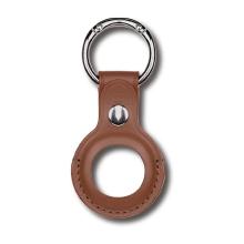Kryt / obal DEVIA pro Apple AirTag - kovový kroužek - kožený - hnědý