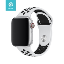 Řemínek DEVIA pro Apple Watch 40mm Series 4 / 5 / 6 / SE / 38mm 1 / 2 / 3 - sportovní - silikonový - bílý / černý