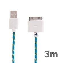 Synchronizační a nabíjecí kabel s 30pin konektorem pro Apple iPhone / iPad / iPod - tkanička - modrý - 3m