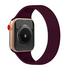Řemínek pro Apple Watch 44mm Series 4 / 5 / 6 / SE / 42mm 1 / 2 / 3 - bez spony - silikonový - velikost M - vínový