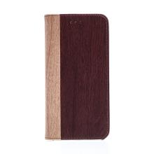 Pouzdro pro Apple iPhone 7 Plus / 8 Plus - stojánek + prostor pro platební karty - motiv dřeva / mahagon
