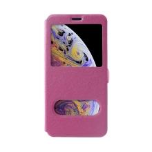 Pouzdro pro Apple iPhone Xs Max - elegantní textura - průhledné okénko - růžové