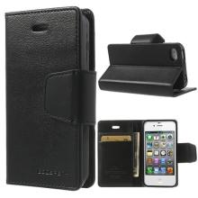 Vyklápěcí pouzdro Mercury Sonata Diary pro Apple iPhone 4 / 4S se stojánkem a prostorem na osobní doklady - černé