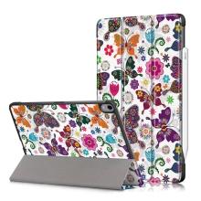 Pouzdro / kryt pro Apple iPad Air 4 (2020) - funkce chytrého uspání - umělá kůže - květiny a motýli
