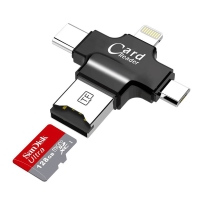 Čtečka paměťových karet Micro SD / TF 4v1 - USB-A / Micro USB / USB-C / Lightning - černá