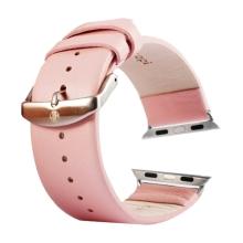 Řemínek Kakapi pro Apple Watch 44mm Series 4 / 5 / 42mm 1 2 3 + šroubovák - kožený - růžový