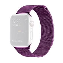 Řemínek pro Apple Watch 40mm Series 4 / 5 / 6 / SE / 38mm 1 / 2 / 3 - nerezový - fialový