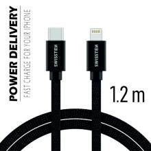 Synchronizační a nabíjecí kabel SWISSTEN - USB-C - Lightning pro Apple zařízení - tkanička - černý - 1,2m