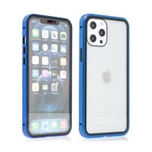 Kryt pro Apple iPhone 12 Pro Max - magnetické uchycení - sklo / kov - 360° ochrana - průhledný / modrý