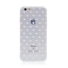 Kryt BABACO pro Apple iPhone 6 / 6S - gumový - srdíčka - průhledný