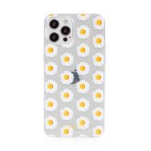 Kryt BABACO pro Apple iPhone 12 / 12 Pro - gumový - kopretiny - průhledný