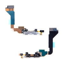 Flex kabel s napájecím a datovým konektorem + SMD mikrofon pro Apple iPhone 4 - bílý - kvalita A+