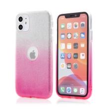 Kryt FORCELL Shining pro Apple iPhone 11 - výřez pro logo - plastový / gumový - stříbrný / růžový