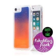 Kryt TACTICAL Glow pro Apple iPhone 6 / 6S / 7 / 8 / SE (2020) - pohyblivý svíticí písek - plastový - oranžový / modrý