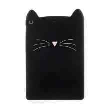 Kryt pro Apple iPad Air 1 / Air 2 / 9,7 (2017-2018) - kočka - silikonový - černý