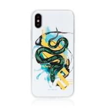 Kryt Harry Potter pro Apple iPhone Xs Max - gumový - had Zmijozelu