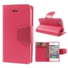 Vyklápěcí pouzdro Mercury Sonata Diary pro Apple iPhone 4 / 4S se stojánkem a prostorem na osobní doklady - tmavě růžové