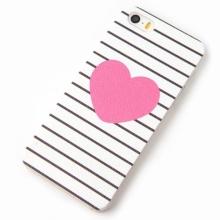 Plastový kryt pro Apple iPhone 5 / 5S / SE s jemnou povrchovou strukturou - růžové srdce