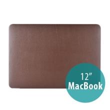 Plastový obal / kryt pro Apple MacBook 12 Retina (rok 2015) - povrch umělá kůže - hnědý
