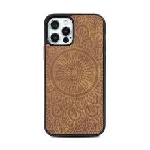 Kryt pro Apple iPhone 12 / 12 Pro - mandala - MagSafe kompatibilní - umělá kůže - hnědý