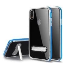Kryt pro Apple iPhone Xr - stojánek - gumový / plastový - průhledný / modrý