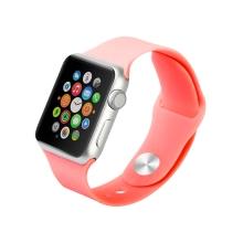 Řemínek pro Apple Watch 40mm Series 4 / 5 / 6 / SE / 38mm 1 / 2 / 3 - velikost S / M - silikonový - tmavě růžový
