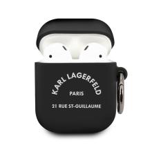 Pouzdro KARL LAGERFELD pro Apple AirPods - Karlova adresa - silikonové - černé