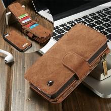 Pouzdro CASEME pro Apple iPhone 5 / 5S / SE - peněženka + odnímatelný kryt na telefon - prostor na doklady - hnědé