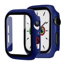 Tvrzené sklo + rámeček pro Apple Watch 44mm Series 4 / 5 / 6 / SE - tmavě modrý
