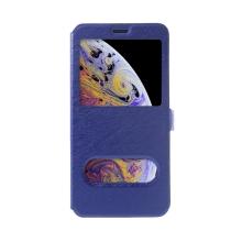 Pouzdro pro Apple iPhone Xs Max - elegantní textura - průhledné okénko - modré