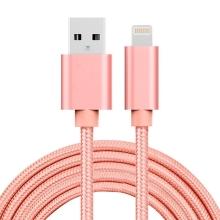 Synchronizační a nabíjecí kabel - Lightning pro Apple zařízení - tkanička - kovové koncovky - Rose Gold - 2m