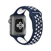 Řemínek pro Apple Watch 40mm Series 4 / 5 / 6 / SE / 38mm 1 / 2 / 3 - silikonový - modrý / bílý - (S/M)