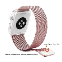 Řemínek pro Apple Watch 40mm Series 4 / 5 / 6 / SE / 38mm 1 / 2 / 3 - nerezový - Rose Gold růžový
