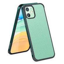 Kryt SULADA pro Apple iPhone 11 - gumový / kovový - karbonová textura - průhledný - tmavě zelený