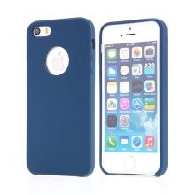 Kryt pro Apple iPhone 5 / 5S / SE - gumový - příjemný na dotek - výřez pro logo - tmavě modrý